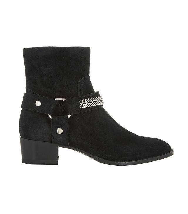 Saint Laurent Chain-Trimmed Suede Ankle Boots, Black