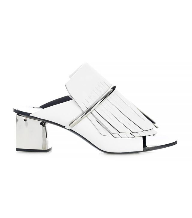 Proenza Schouler Fringe Suede and Leather Mules, White