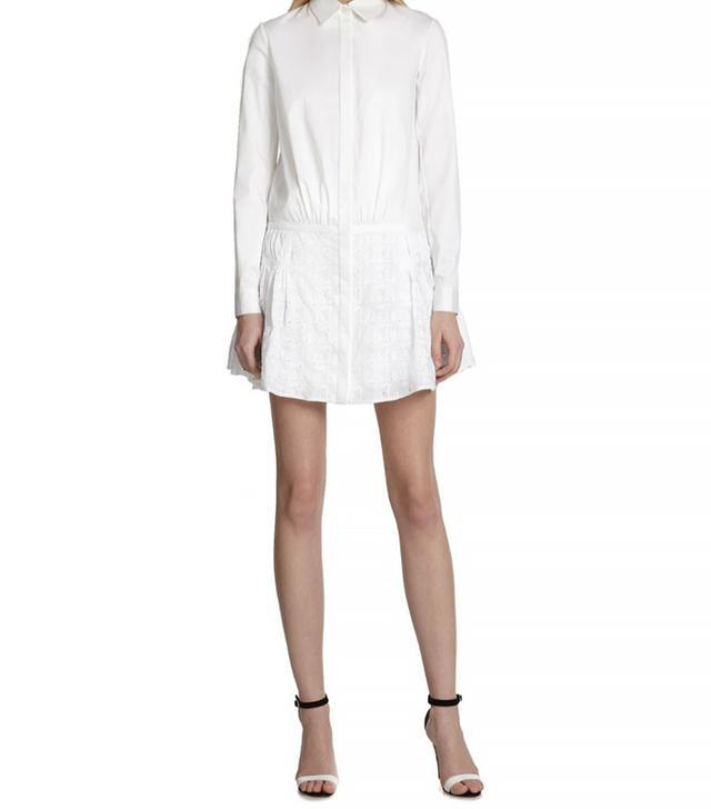 Thakoon Eyelet-Skirt Shirtdress, White
