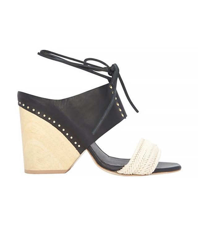 Thakoon Wooden Heel and Raffia Leather Sandal