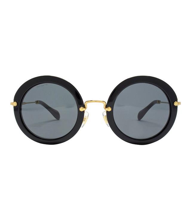 Miu Miu Round Sunglasses, Black/Grey