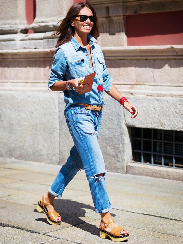 2. Chambray Shirt + Boyfriend Jeans