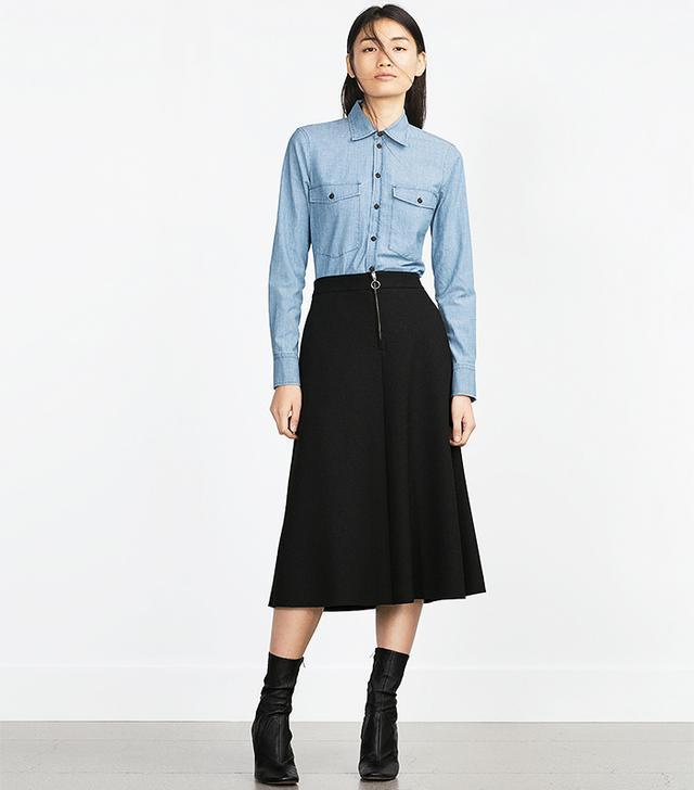 Zara Metallic Zip Skirt