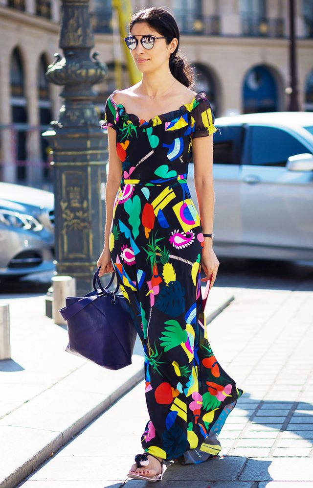 4. Off-the-Shoulder Maxi + Mirrored Sunglasses