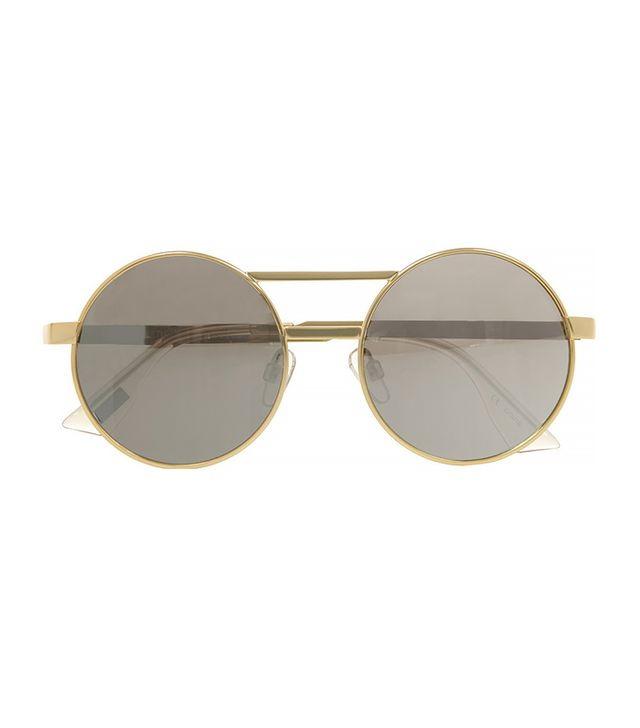 Le Specs Vertigo Gold Tone Round-Frame Mirrored Sunglasses