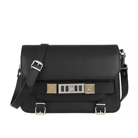 The PS11 Classic Textured-Leather Shoulder Bag, Black