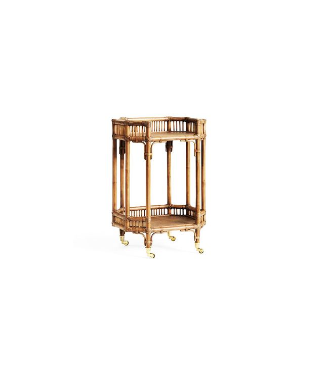 Pottery Barn Hailey Rattan Bar Cart