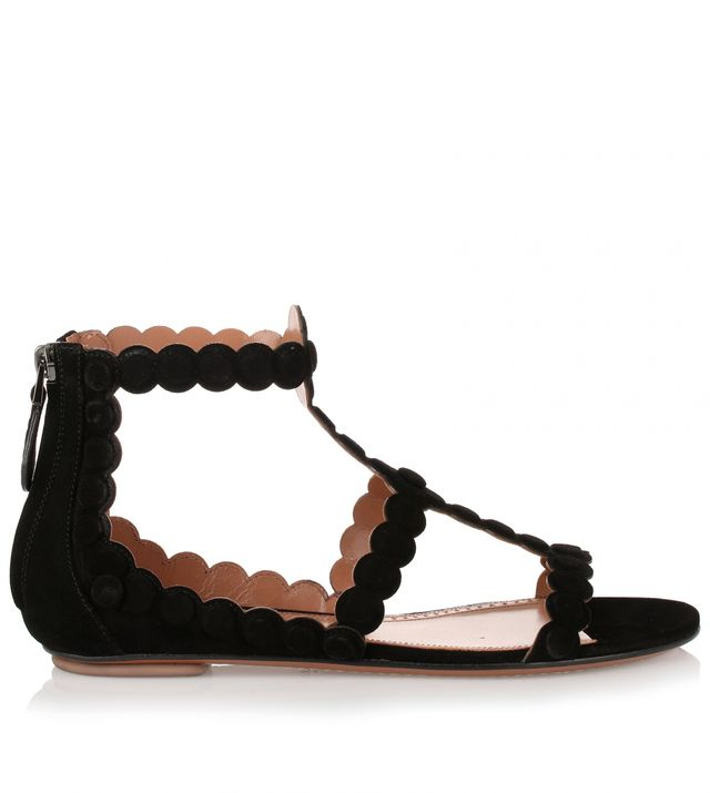 Alaïa Black Suede Flower Sandal