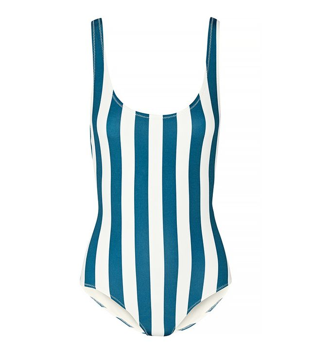 Solid & Striped The Anne Marie Blue and White Striped One Piece Swimsuit
