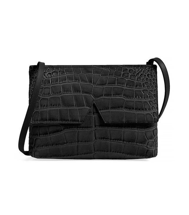 Vince Croc Embossed Leather Crossbody Bag
