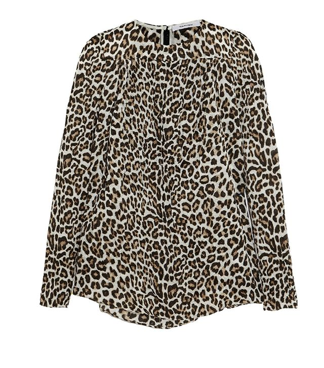 Carven Crinkled Leopard-Print Satin Shirt