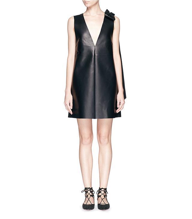 Valentino Bow Drape Lamb Leather Dress