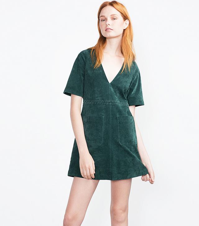 Zara Flared Suede Dress, Green
