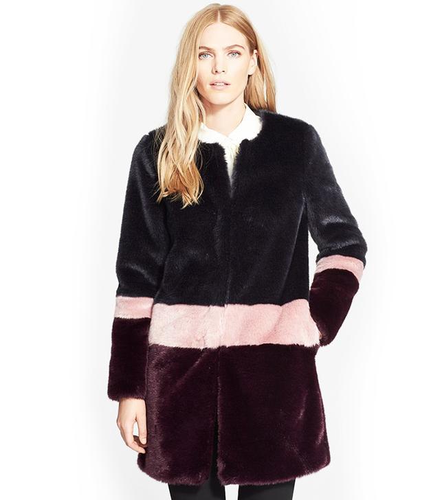 Truth & Pride Faux Fur Stripe Coat