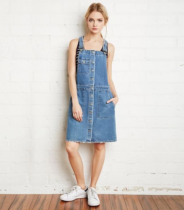 Forever 21 Buttoned Denim Overall Dress