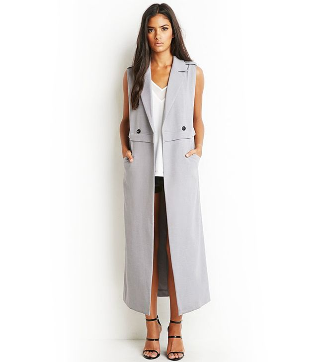 Forever 21 Double-Breasted Longline Vest, Grey