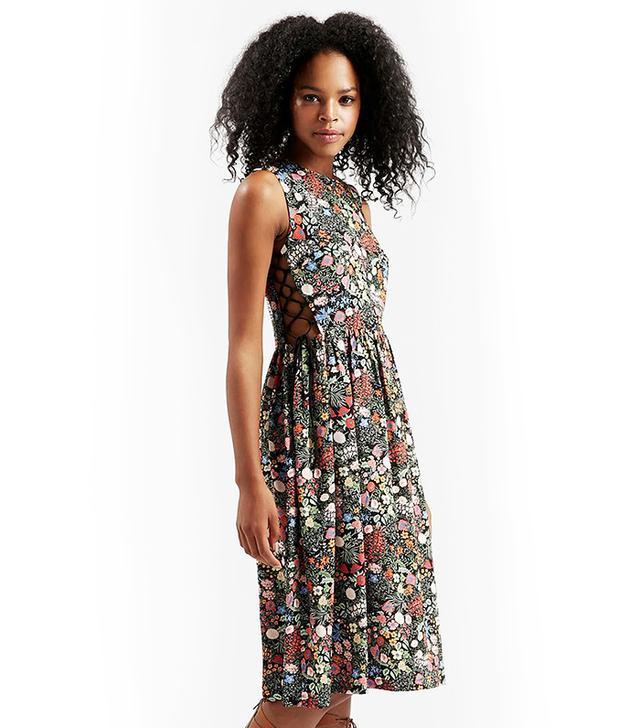 Topshop 'Woodland Floral' Side Lace Midi Dress