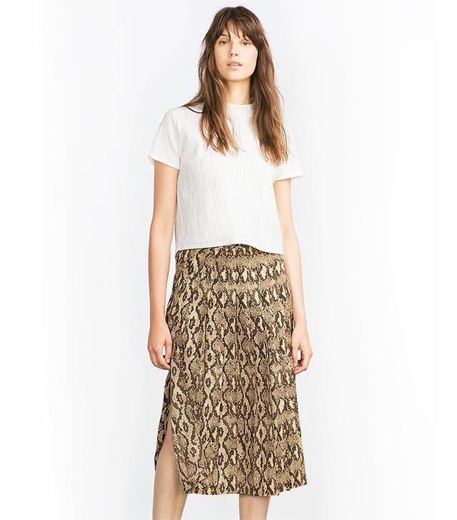 Zara Snake Print Midi Skirt