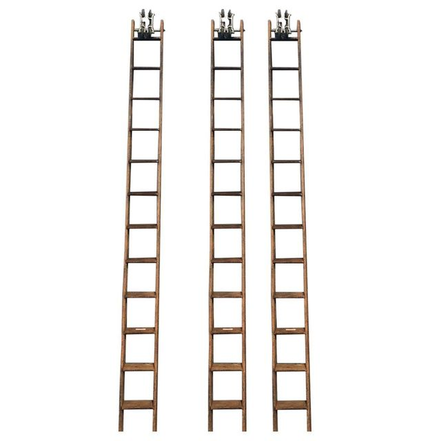 Chairish 14' Tall Fe Meyers Co. Library Ladder