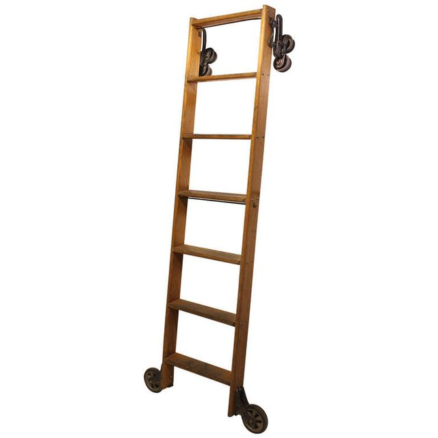 Architectural Anarchy Antique American Oak Library Ladder