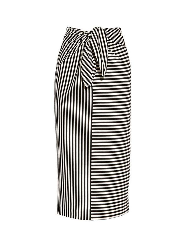 Tibi Ren Striped Cotton-Blend Jersey Skirt