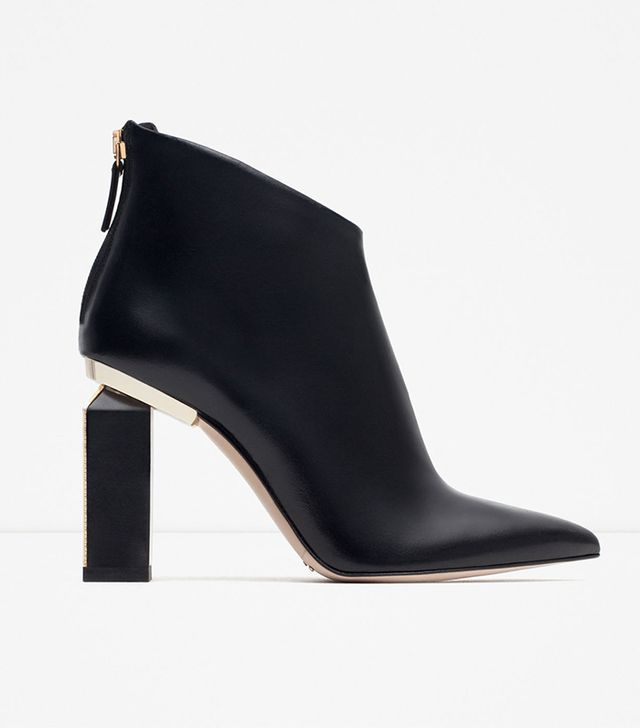 Zara Leather and Metal Ankle Boots