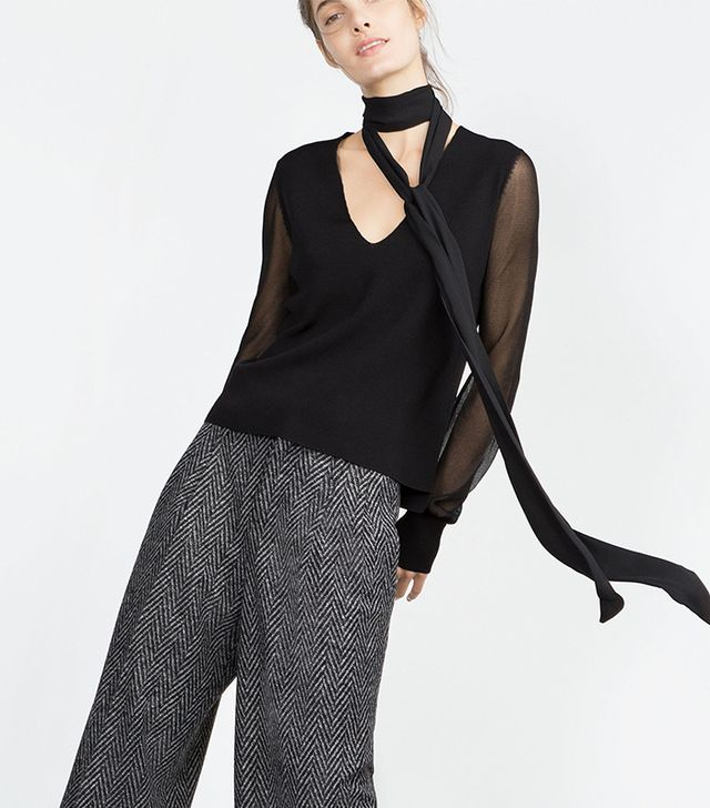 Zara Sweater With Transparent Sleeves