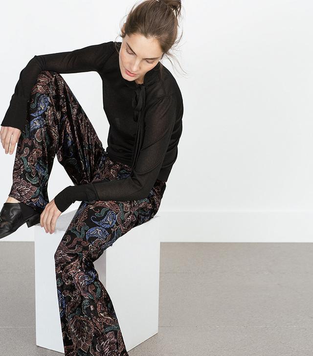 Zara Printed Velvet Trousers
