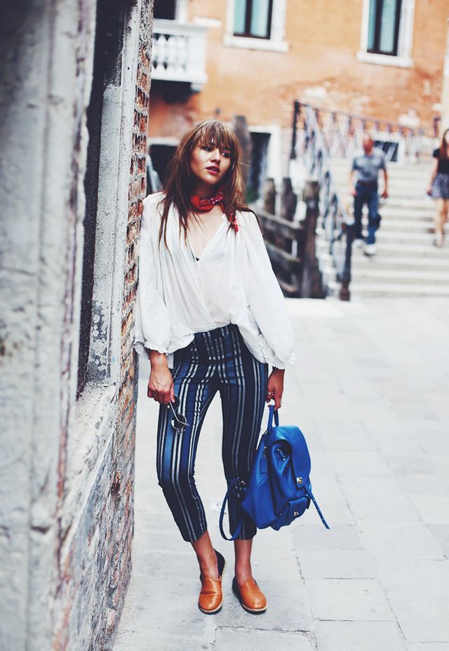 Look 3: White Blouse + Striped Pants + Leather Slip-Ons