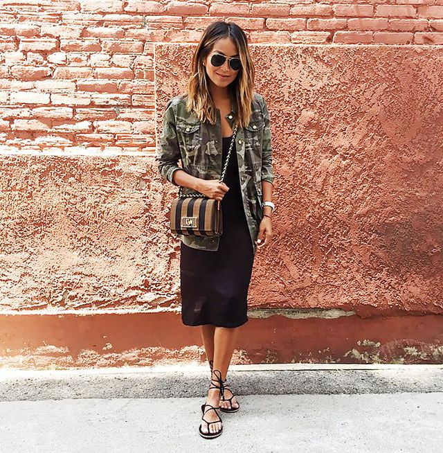 Look 6: Aviator Sunglasses + Military Jacket + Black Tank Dress