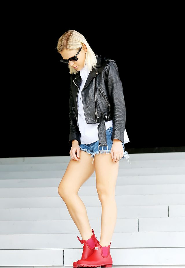 Look 10: Leather Moto Jacket + Denim Cutoffs + Red Rain Boots