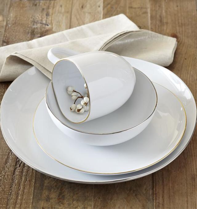 West Elm Organic Shaped Dinnerware Set With Metallic Rim