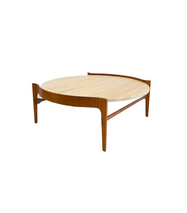 The Modern Vault Travertine and Walnut Sculptural Coffee Table