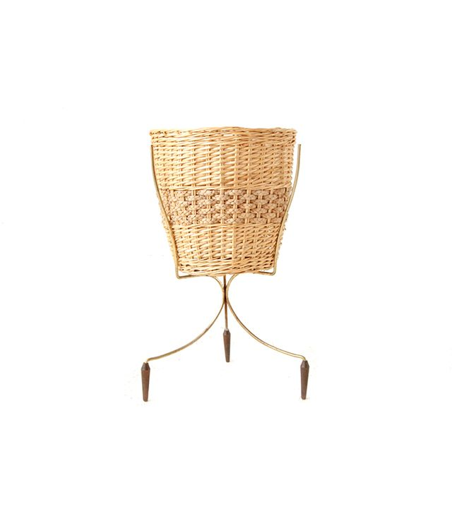 Other Times Vintage Wicker Bullet Planter