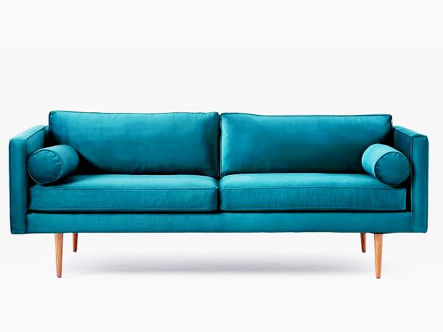 West Elm This Jewel-Tone Velvet Couch Is Everything