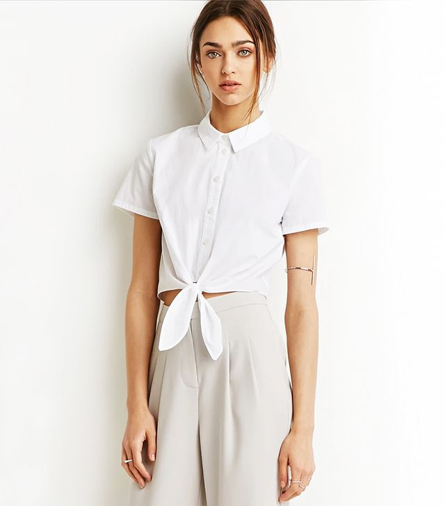 Forever 21 Self-Tie Waist Shirt in White