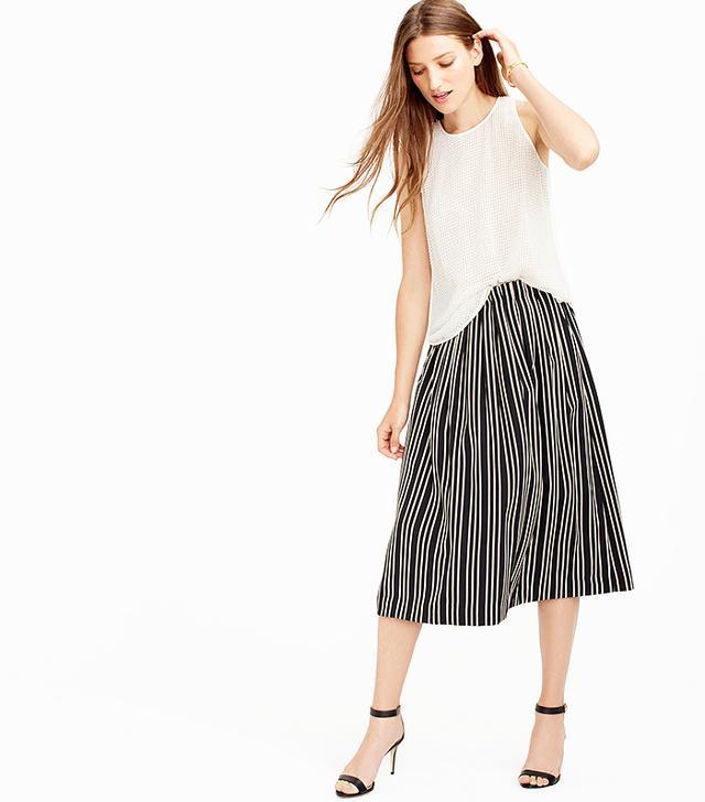 J.Crew Striped Pleated Midi Skirt, Black/Champagne