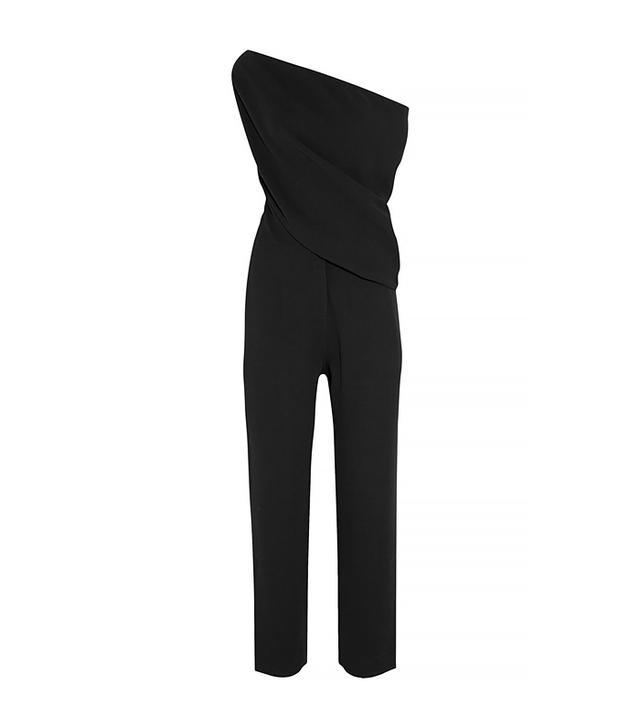 McQ Alexander McQueen Off-the-Shoulder Crepe Jumpsuit, Black