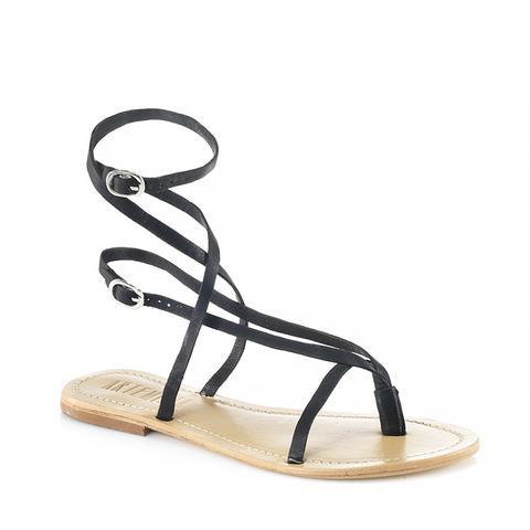 Roman Black Sandal