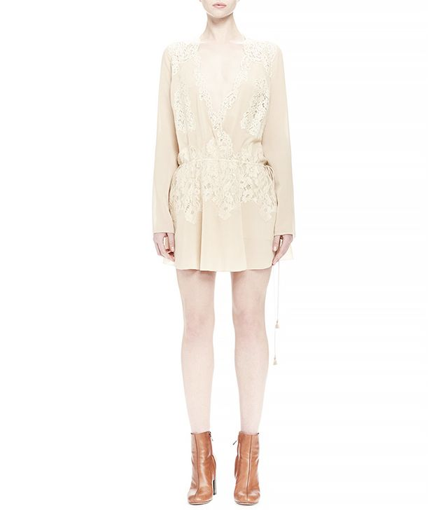 Chloé Long-Sleeve Lace Wrap Dress, Cream