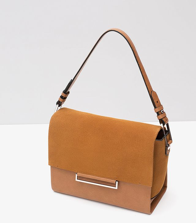 Zara City Bag With Flap, Camel