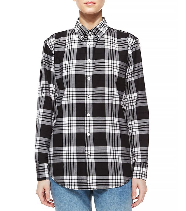 Band of Outsiders Plaid Long-Sleeve Shirt