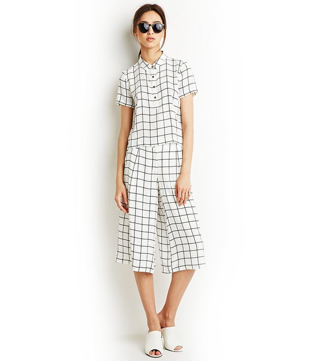 Forever 21 Grid Print Blouse and Gaucho Set