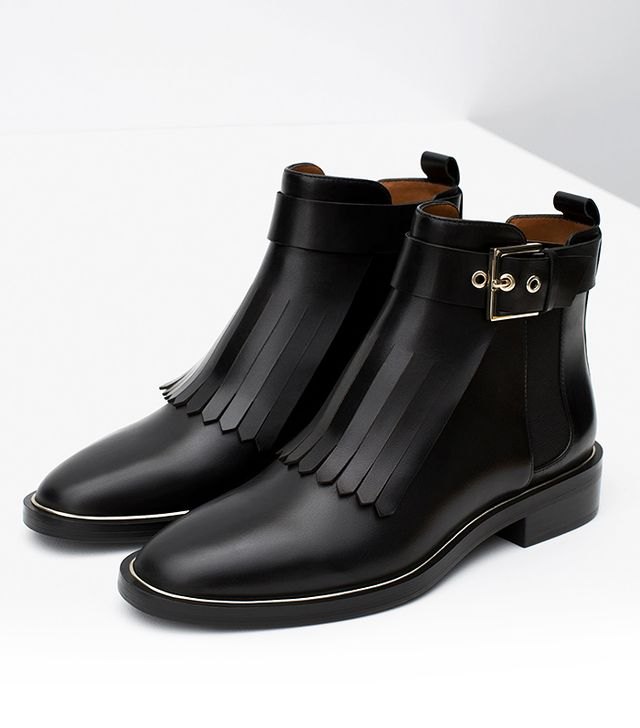 Zara Leather Ankle Boots With Fringes