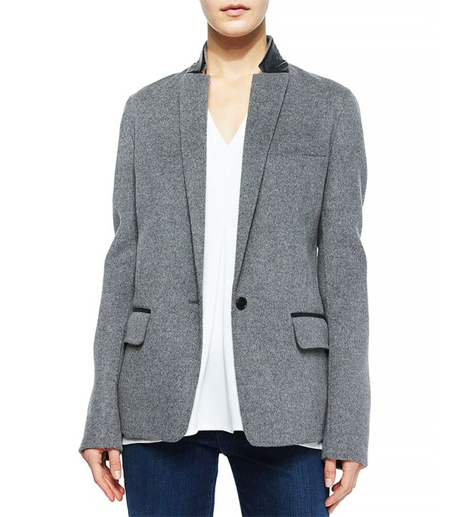 Vince Leather-Trim Wool Blazer, Grey