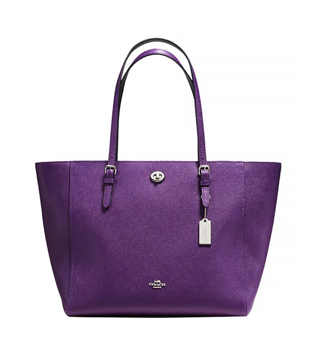 Coach Crossgrain Leather Turnlock Tote, Purple