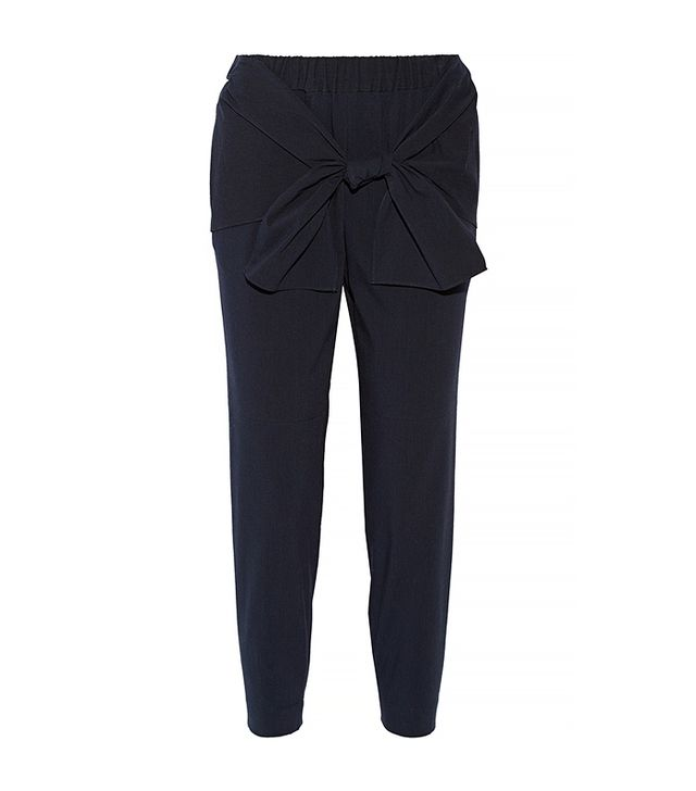 Tibi Tie-Front Seersucker Stretch Cotton-Blend Tapered Pants, Navy