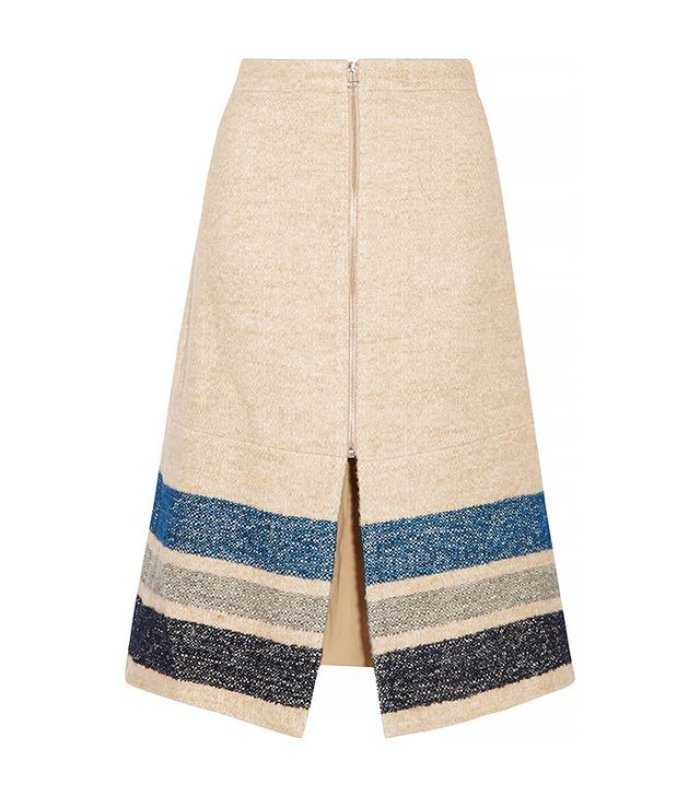 SEA Striped Silk and Wool-Blend Midi Skirt