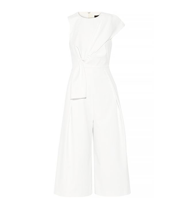 Tibi Agathe Bow Stretch-Poplin Jumpsuit, White