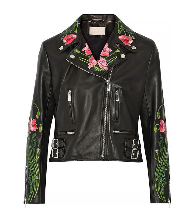 Christopher Kane Floral-Embroidered Leather Biker Jacket
